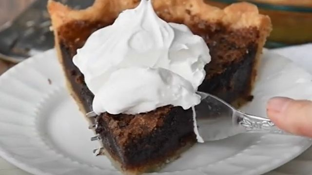 Chocolate Chess Pie Recipe With Whipped Cream Topping